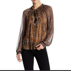 Free people Hendrix blouse, small, green & black
